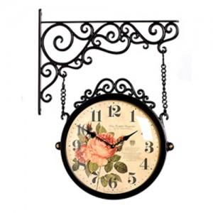 인테리어 브라운 무소음 양면시계[4color 선택가능]-원형 28cm