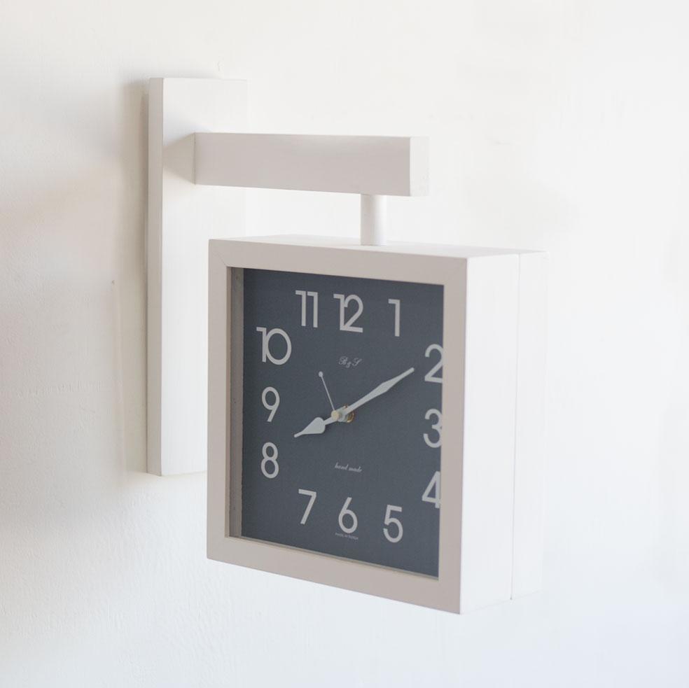 데이브 무소음 화이트 원목 양면시계 (인쇄가능)