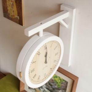 비센테 무소음 화이트 원목 양면시계 (인쇄가능)