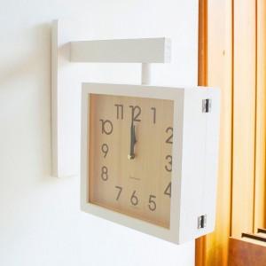다비드 무소음 화이트 원목 양면시계 (인쇄가능)